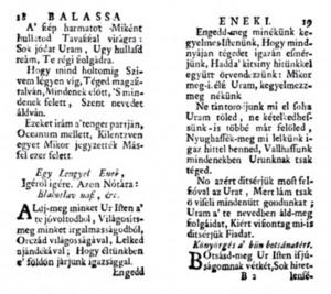 Balassi Bálint: Áldj meg minket Úristen - ősnyomtatvány