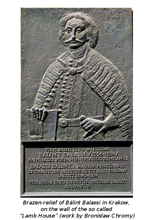 """Brazen-relief of Bálint Balassi in Krakow, on the wall of the so called """"Lamb House"""" (work by Bronisław Chromy)"""