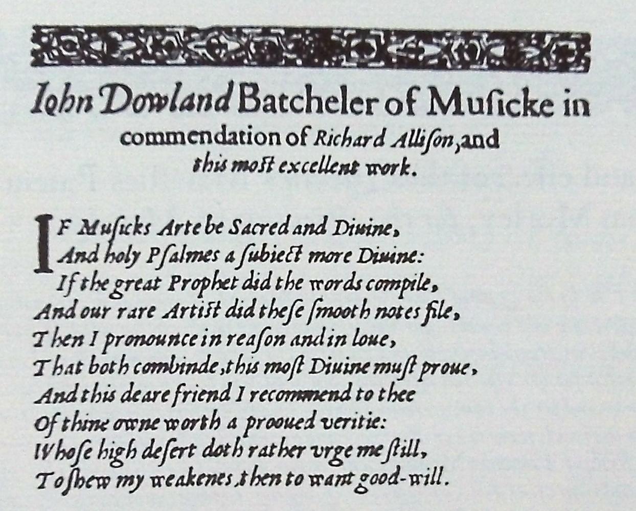 dícsérő verses ajánlás - John Dowland