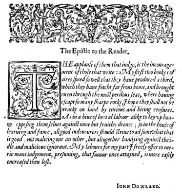 John Dowland: Epistle