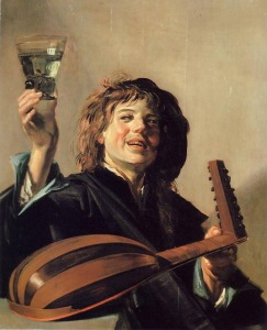 Merry Lute Player. Frans Hals (greeting with wine)