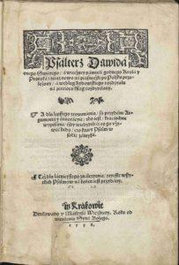 Jakub Lubelczyk: Psalterz Dawida, 1558